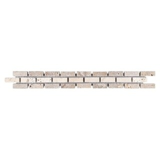 SomerTile 1.25x12-inch Tivoli Brick Noce Chiaro Travertine Border Trim Wall Tile (Pack of 12)