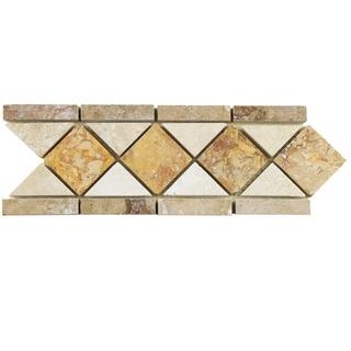 SomerTile 4x12.5-inch Tivoli Diamon Noce Chiaro Travertine Border Trim Wall Tile (Pack of 12)