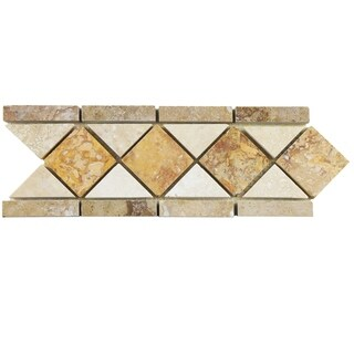 SomerTile 4x12.5-inch Tivoli Diamon Noce Chiaro Travertine Mosaic Border Trim Wall Tile (12 tiles)