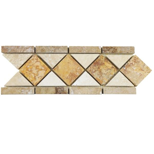 Somertile 4x12 5 Inch Tivoli Diamon Noce Chiaro Travertine Mosaic Border Trim Wall Tile