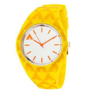 Airwalk Analog Silver Case and Logo on Dial with Yellow Silicone Strap Watch