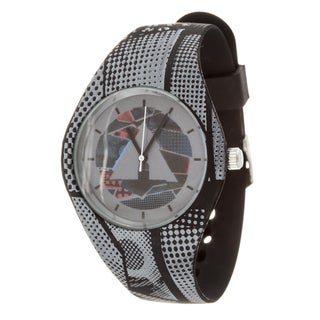 Airwalk Men's Silicone and Stainless Steel Analog Logo on Dial with Black Strap Watch