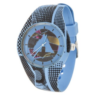Airwalk Analog Silver Case and Logo on Dial with Blue Silicone Strap Watch