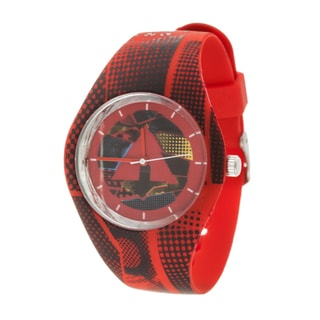 Airwalk Men's Silicone and Stainless Steel Logo on Dial with Red Strap Analog Watch