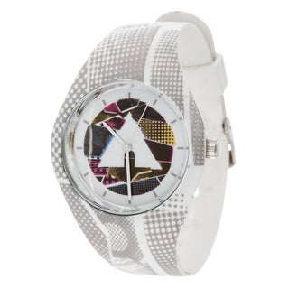 Airwalk Men's Silicone and Stainless Steel Logo on Dial with White Strap Analog Watch