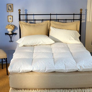Luxurious Baffle Box 230 Thread Count White Goose Featherbed Twin Size (As Is Item)