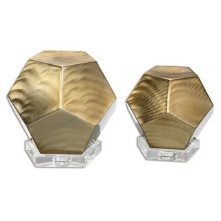 Pentagon Brushed Coffee Bronze Shapes (Set of 2)