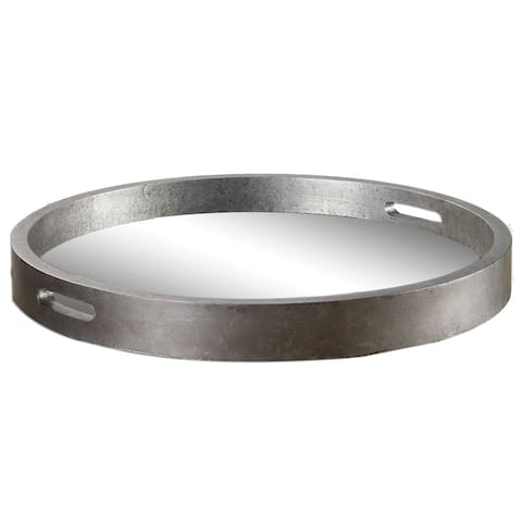 Bechet Round Silver Wooden Tray