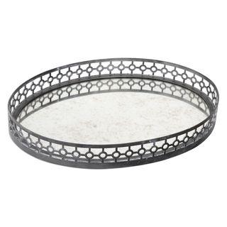 Alessandra Oxidized-gray Glass Top Tray