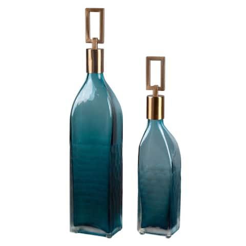 Annabella Teal Glass Bottles (Set of 2)