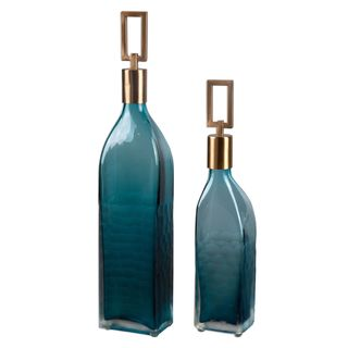 Annabella Teal Glass Bottles (Set of 2)