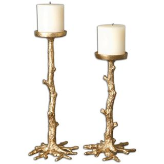 Maple Gold Candleholders (Set of 2)