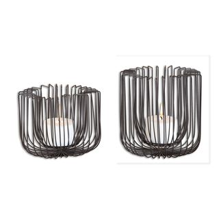 Flare Black Wire Candleholders (Set of 2)