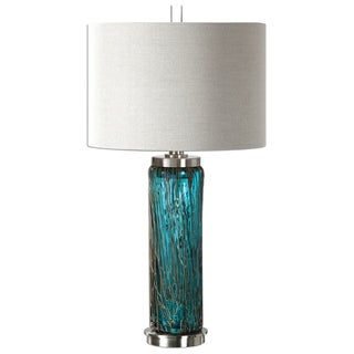 almanzora blue glass lamp uttermost table lamps for less   overstock    rh   overstock