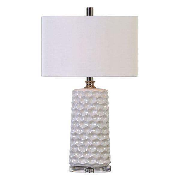 Sesia White Honeycomb Table Lamp