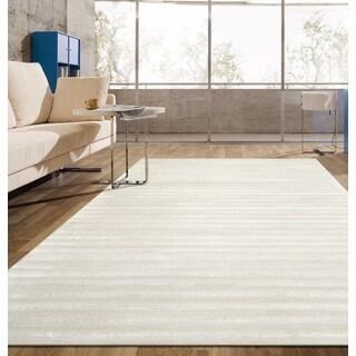 Cream Contemporary Modern Striped Soft Indoor Area Rug (5'3 x 7'3)