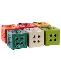 Assorted Color Large Ceramic Square Tea Light Lantern with Metal Hook (Set of 6)