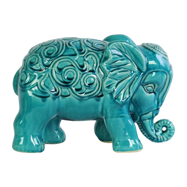 Ceramic Gloss Finish Turquoise Standing Elephant Figurine with Embossed Swirl Design