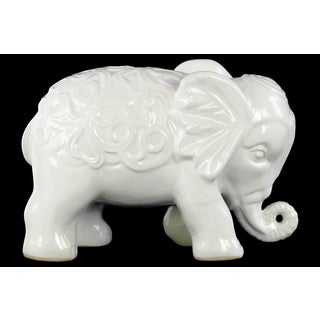 Ceramic Gloss Finish White Standing Elephant Figurine with Embossed Swirl Design