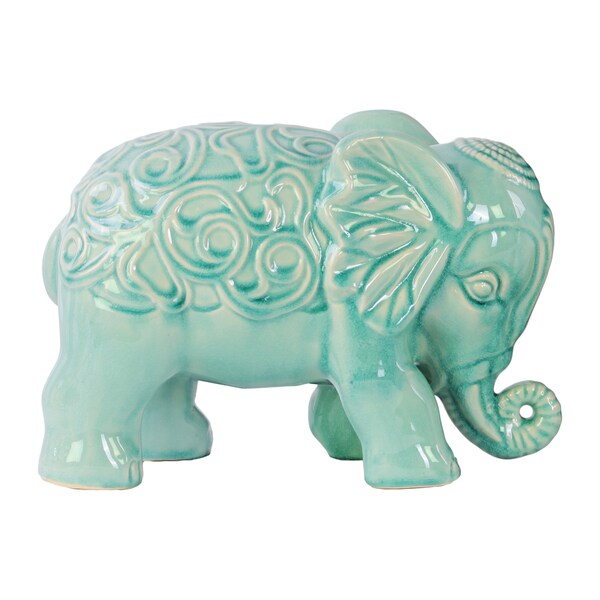 Ceramic Gloss Finish Sky Blue Standing Elephant Figurine with Embossed Swirl Design