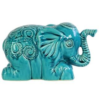 Ceramic Gloss Finish Turquoise Laying Elephant Figurine with Embossed Swirl Design