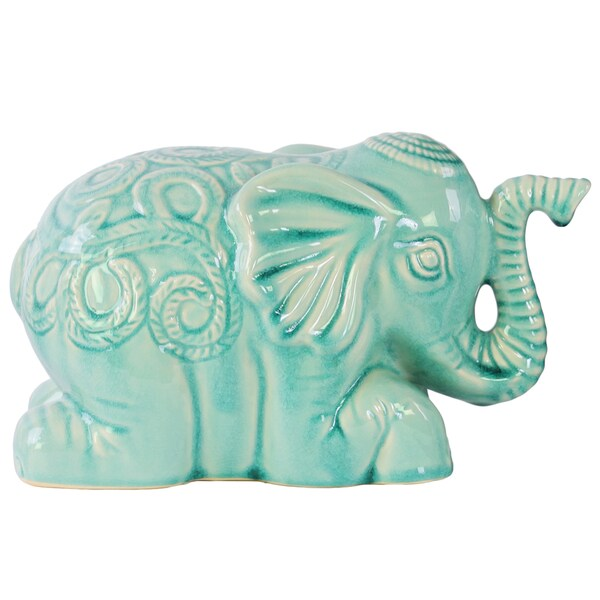 Ceramic Gloss Finish Sky Blue Laying Elephant Figurine with Embossed Swirl Design