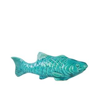 Glossy Turquoise Finish Ceramic Koi Fish Figurine Small