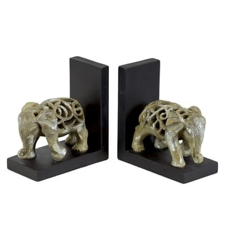 Champagne Glaze Finish Resin Elephant Figurine with Cutout Design Bookend (Set of 2)