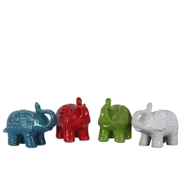 Assorted Color Craquelure Glossy Finish Ceramic Trumpeting Standing Elephant Figurine Small (Set of 4)