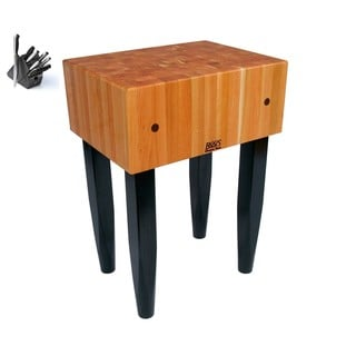 John Boos RN-LB3024-C Cherry Butcher Block 30 x 24 Table with Casters, and J. A. Henckles 13-piece Knife Set