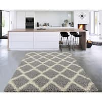 "Sweet Home Stores Cozy Shag Trellis Design Shag Rug, - 7'10"" x 9'10"""