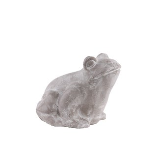 Grey Washed Concrete Terracotta Small Frog Figurine
