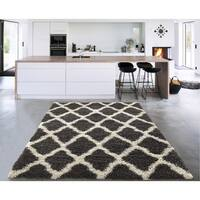 "Sweet Home Stores Cozy Charcoal Shag Trellis Shag Rug - 6'7"" x 9'3"""