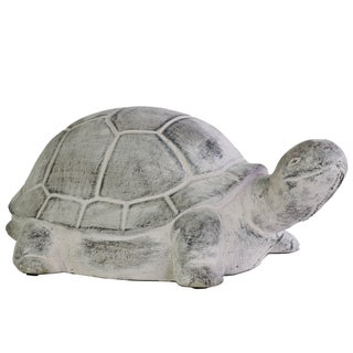 Washed Grey Cement Turtle Figurine