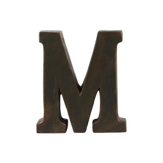 Dark Bronze Fiberstone Oil Rubbed Alphabet 'M' Tabletop Decor Letter