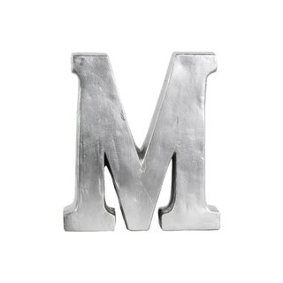 Silver Fiberstone Bead Blasted Alphabet 'M' Tabletop Decor Letter