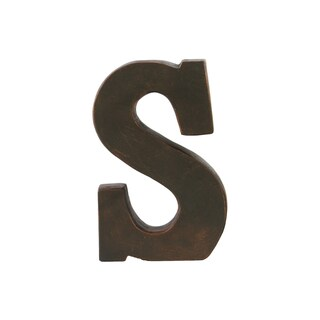 Oil Rubbed Dark Bronze Finish Fiberstone Alphabet Letter 'S' Tabletop Decor
