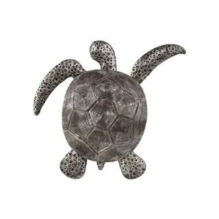 Matte Finish Silver Polyresin Loggerhead Sea Turtle Figurine