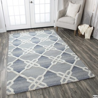 Rizzy Home Caterine Collection Blue and Khaki Area Rug - 9' x 12'