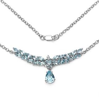 Olivia Leone 5.57 Carat .925 Sterling Silver Blue Topaz Necklace