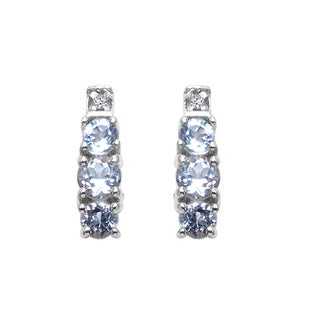 Sterling Silver 7/8ct TGW Genuine Aquamarine and White Topaz Earrings