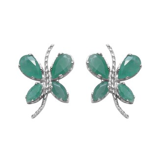 Sterling Silver 1 1/4ct TGW Genuine Emerald Earrings