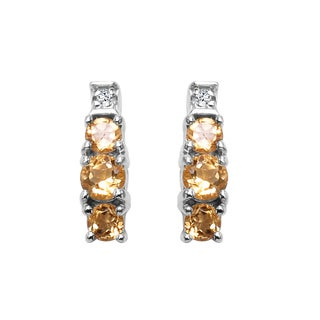 Sterling Silver 1/2ct TGW Genuine Citrine and White Topaz Earrings