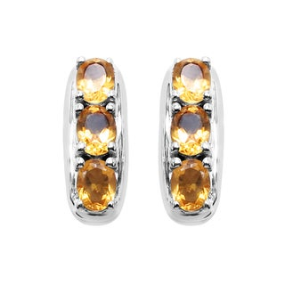 Sterling Silver 1ct TGW Genuine Citrine Earrings