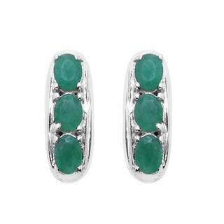 Sterling Silver 1ct TGW Genuine Emerald Earrings