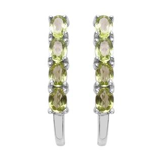 Sterling Silver 1 1/2ct TGW Genuine Peridot Earrings
