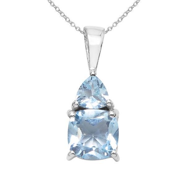 7cbc3667e Shop Sterling Silver 1 1/4ct TGW Genuine Blue Topaz Pendant - Free ...