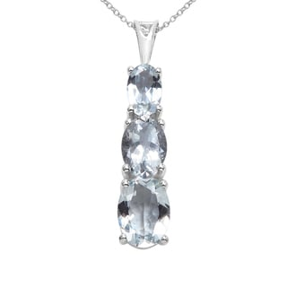 Sterling Silver 3ct TGW Genuine Aquamarine Pendant