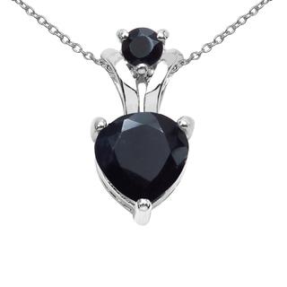 Sterling Silver 1 2/5ct TGW Genuine Black Sapphire Pendant