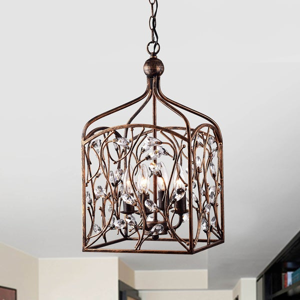 Ashley Crystal Bud Foyer Pendant Lantern in Antique Copper - Ashley Crystal Bud Foyer Pendant Lantern In Antique Copper - Free
